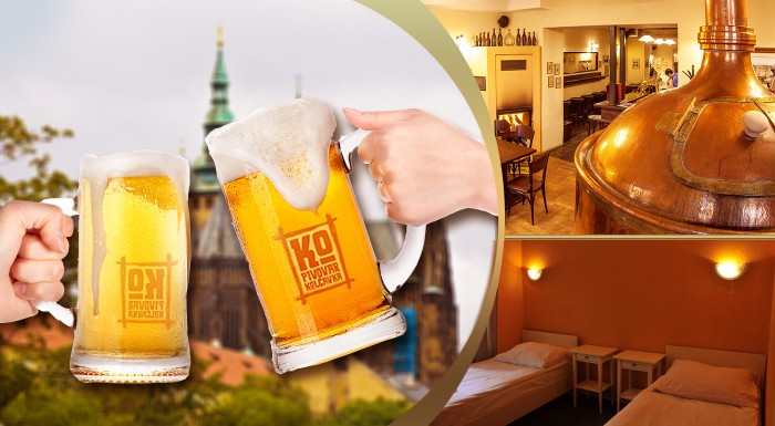 Fotka zľavy: Na pivo do Prahy! Neodmietnuteľný 2- alebo 3-dňový pobyt pre milovníkov piva v jedinečnom prostredí Pivovaru Kolčavka od 59 € pre dvoch. Prehliadka pivovaru, ochutnávka piva a polpenzia v cene!