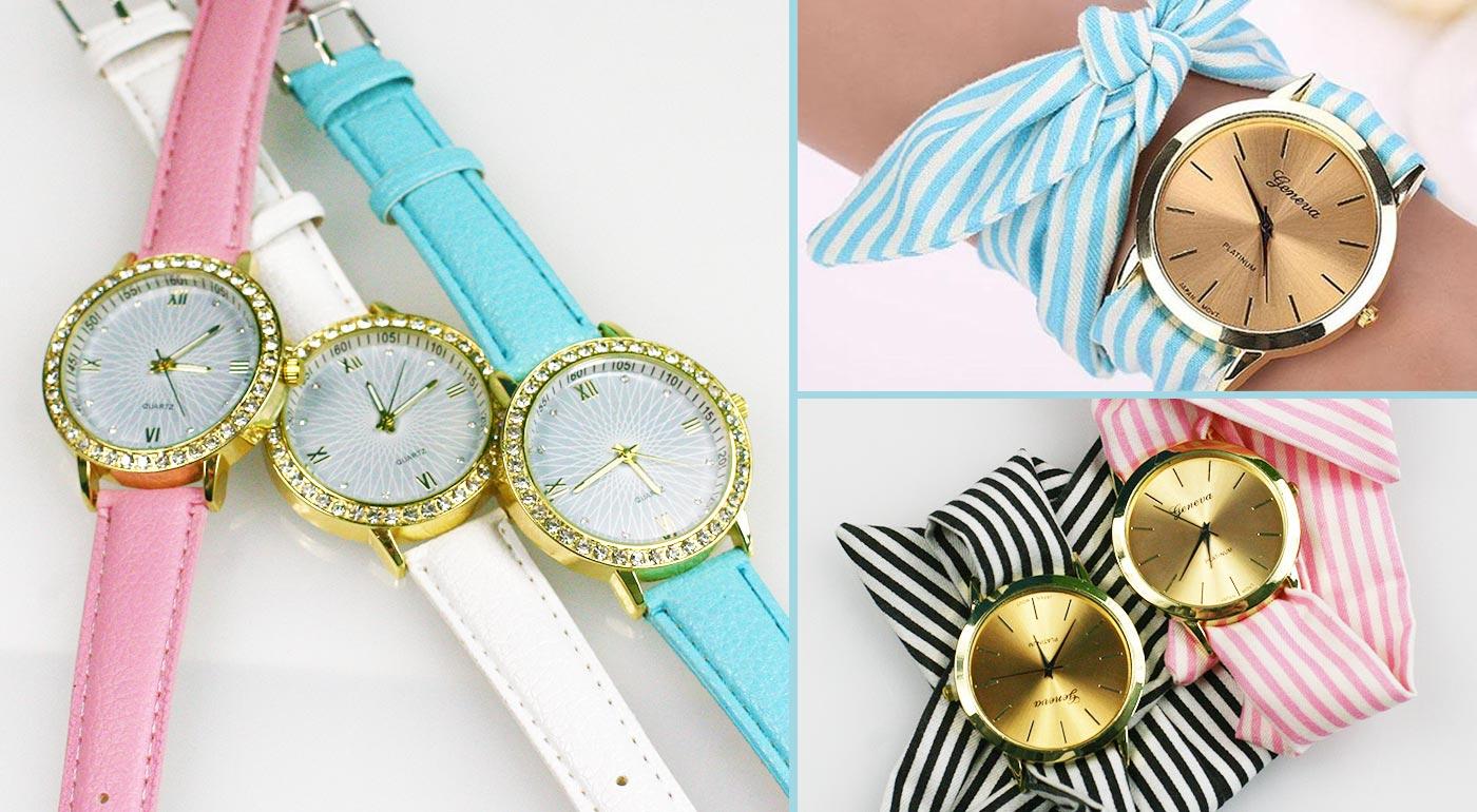 Štýlové dámske hodinky s koženkovým alebo látkovým viazaním