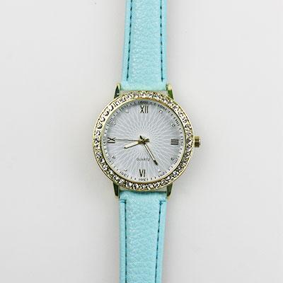 Dámske hodinky s koženkovým remienkom - tyrkysové