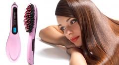 Zľava 73%: Aj tie najneposlušnejšie vlasy podľahnú. Zdôverte svoje kadere profesionálnej keramickej kefe so žehličkou. Pri príjemnom česaní vám upraví vlasy od korienkov až po končeky!