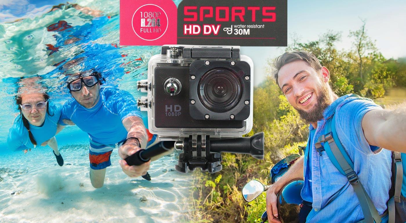 Zachyťte všetky vaše adrenalínové zážitky s HD širokouhlou vodotesnou kamerou