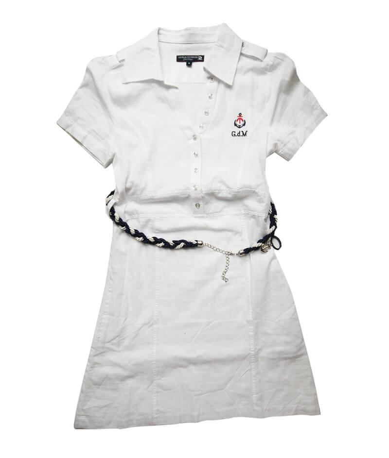 f96e8d8eeba6 Dámske ľanové šaty s krátkym rukávom Giorgio Di Mare  biele veľkosť M