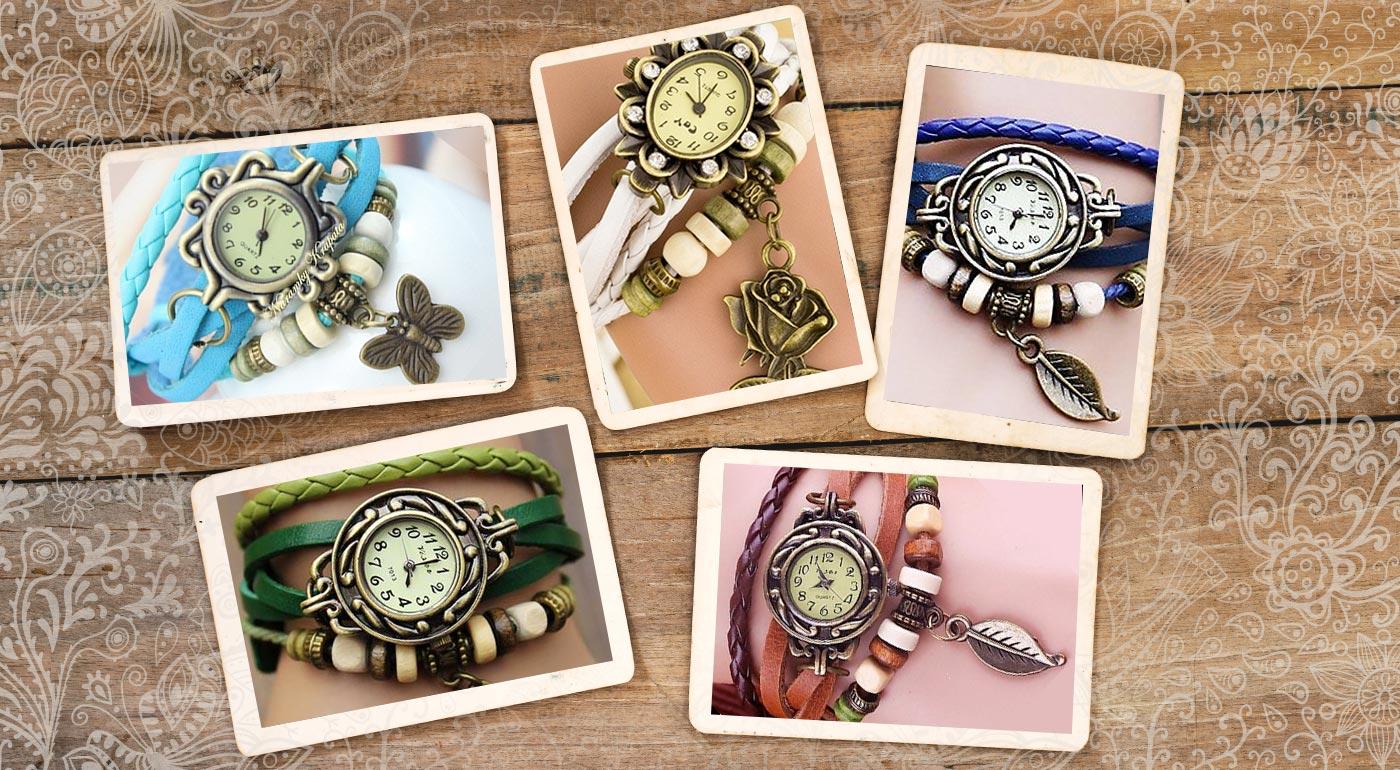 Obľúbené dámske VINTAGE hodinky s ozdobným remienkom