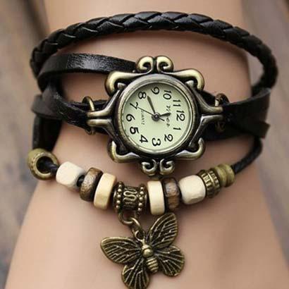 Retro hodinky s motýlikom, farba čierna