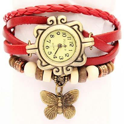 Retro hodinky s motýlikom, farba červená