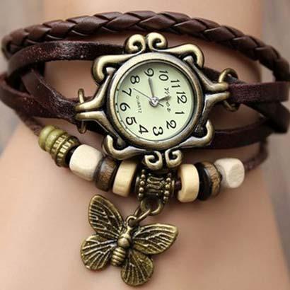 Retro hodinky s motýlikom, farba hnedá