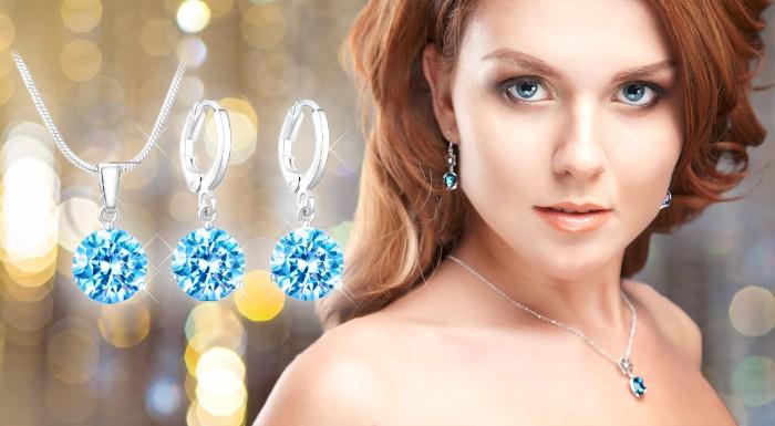 Fotka zľavy: 2-dielny set šperkov vysádzaný kryštálmi