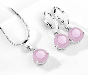 Elegantný  2-dielny set šperkov s brúsenými kryštálikmi - ružová (matná)