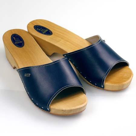 Dámske dreváky s otvorenou špičkou - farba modrá - veľkosť 36