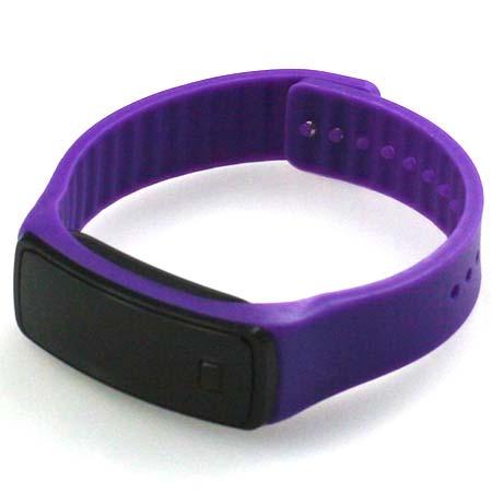 Silikónové hodinky s LED displejom - farba fialová