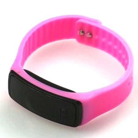 Silikónové hodinky s LED displejom - farba svetloružová