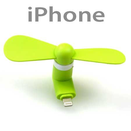 Ventilátor na mobil s koncovkou pre Iphone 5 a novší - zelená farba