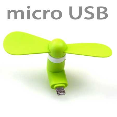 Ventilátor na mobil s koncovkou 5 pin micro USB - zelená farba