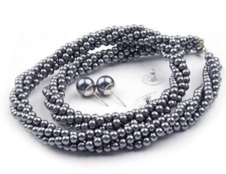 Set voskovaných perál - náhrdelník, náušnice, č. 1, farba: antracit