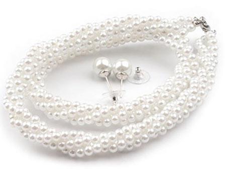 Set voskovaných perál - náhrdelník, náušnice, č. 3, farba: biela