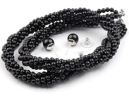 Set voskovaných perál - náhrdelník, náušnice, č. 2, farba: čierna