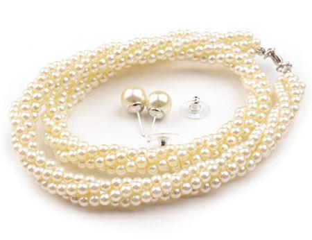 Set voskovaných perál - náhrdelník, náušnice, č.4, farba: krémová