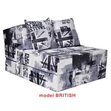 Rozkladacie kreslo s potlačou - model British