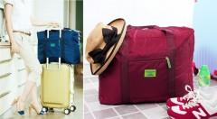 Zľava 46%: Vyberte sa na cesty s praktickou skladacou taškou, ktorú ľahko upevníte na rúčku vášho kufra. Použite ju ako príručnú batožinu alebo extra rezervu k na suveníry z dovolenky.