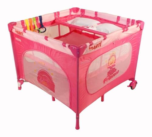 Detská ohrádka Arti LuxuryGo Pink + prebaľovací pult + možnosť polohovania matraca (ružová)