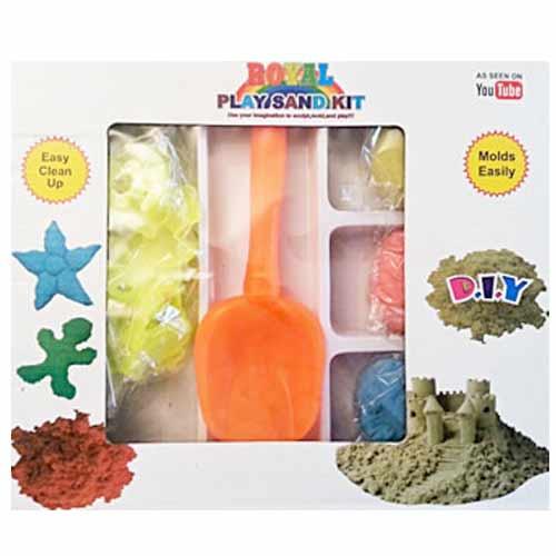 Magický piesok - sada na modelovanie za 6,99 €: 450 gramov piesku (3 vrecká po 150 g - farba oranžová, žltá, modrá), 1x lopatka, 8 formičiek