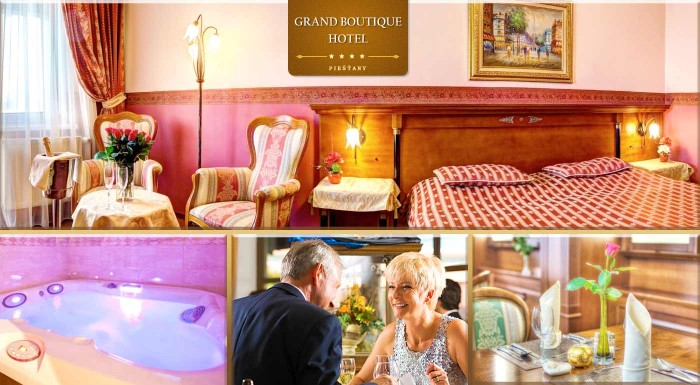 Fotka zľavy: Doprajte svojim rodičom skvelý pobyt v piešťanských kúpeľoch s plnou penziou a wellness! Čaká ich skvelý oddych na 3 alebo 4 dni pre 2 osoby v luxusnom Grand Boutique Hoteli Sergijo**** už od 135 €.