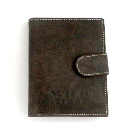 Pánska kožená peňaženka WILD na výšku - tmavohnedá