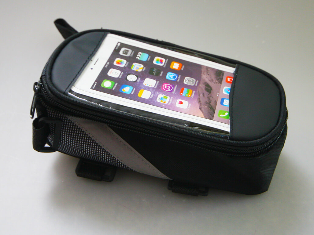 Cyklistické puzdro na mobil a drobnosti - farba čierno-sivá