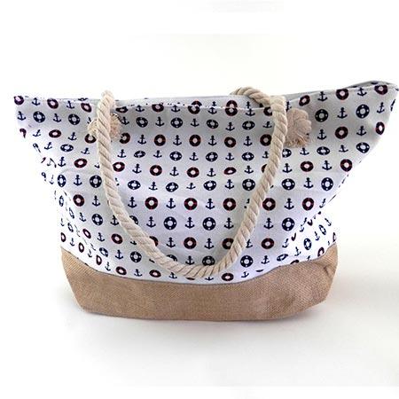 Dámska taška s malými kotvičkmi - biela