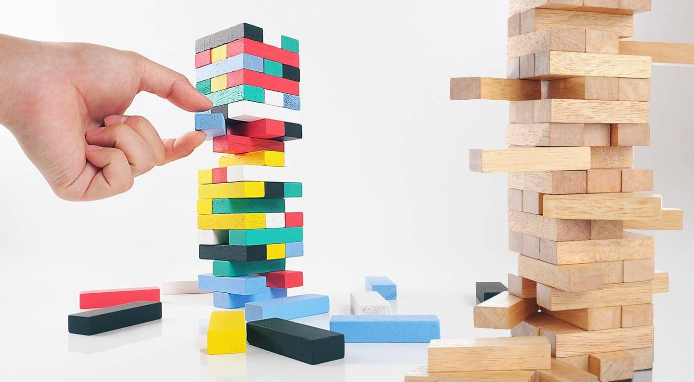Zábavná spoločenská hra Jenga - na výber farebný alebo drevený variant s číslami v 3 veľkostiach!