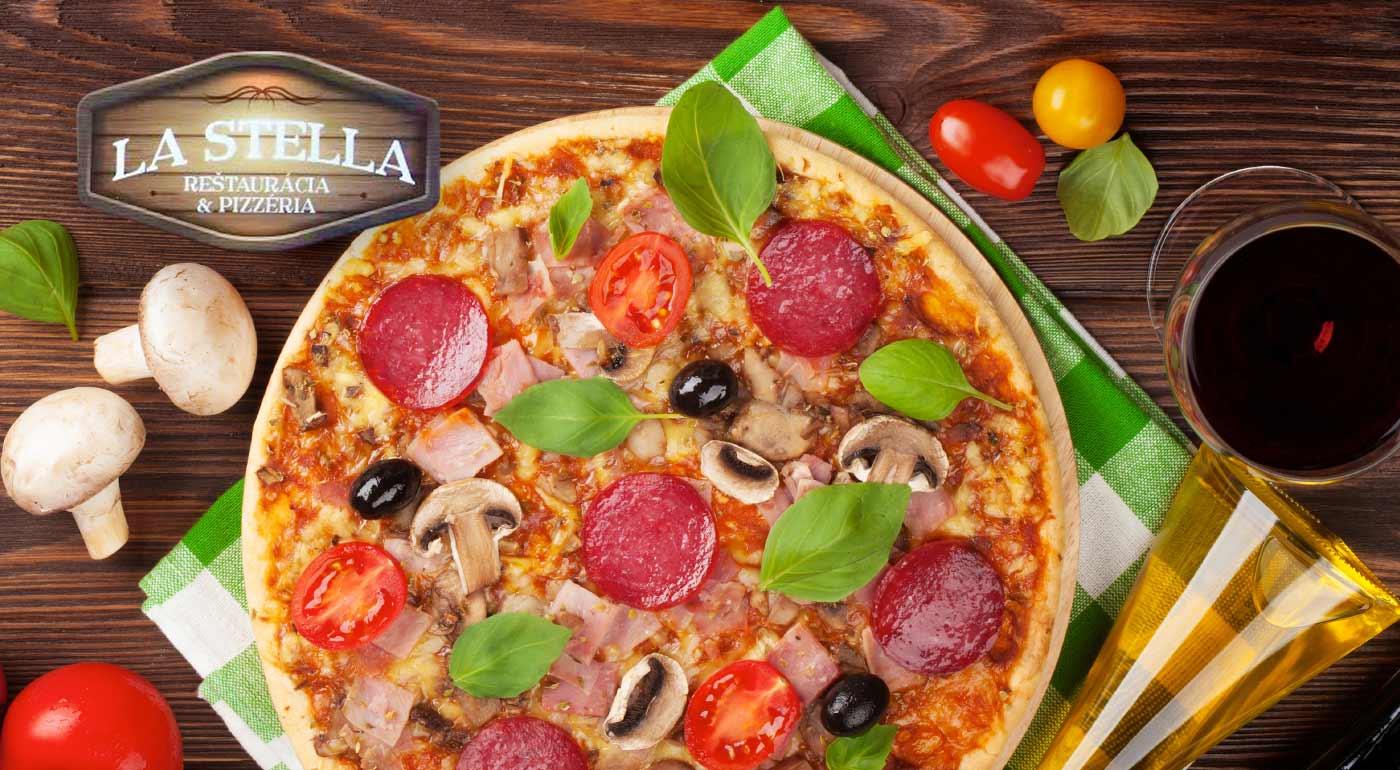 Fotka zľavy: Najedzte sa do sýtosti a ešte na tom ušetrite. Využite skvelú ponuku na druhú pizzu iba za 0,10 € v pizzerii a reštaurácia La Stella v Hlohovci. Platí i na rozvoz!