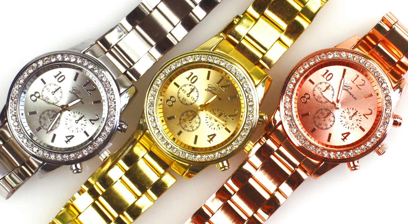 Elegantné dámske hodinky Geneva vykladané kamienkami až v troch farbách 7517518fc64