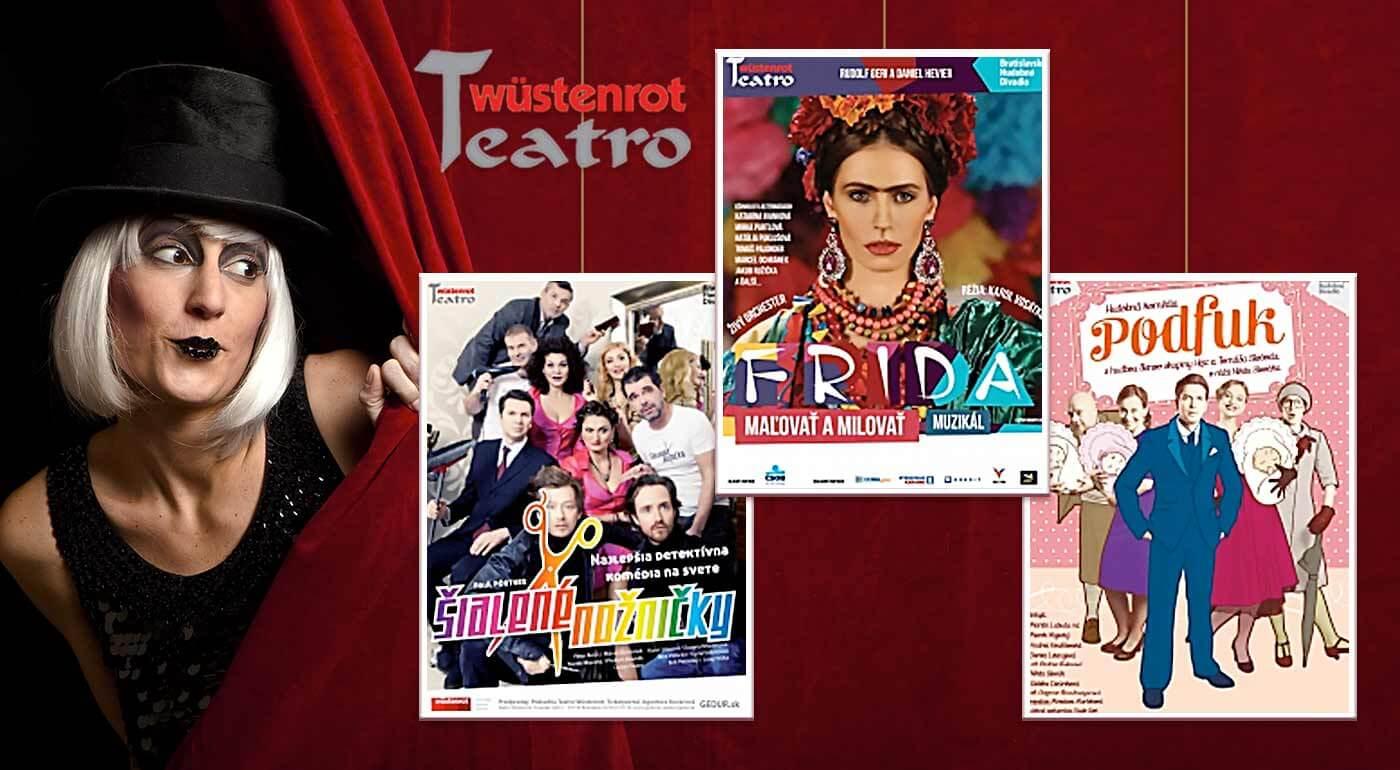 Fotka zľavy: Špeciálne kupóny 1+1 do divadla Teatro Wüstenrot na predstavenia podľa vlastného výberu. Pozrite si napríklad komédiu Šialené nožničky, Lordi, Mandarínková izba či muzikál Frida - Maľovať a milovať!