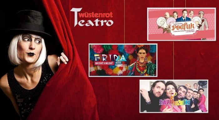 Zľava 36%: Špeciálne kupóny 1+1 do divadla Teatro Wüstenrot na predstavenia podľa vlastného výberu. Pozrite si napríklad komédiu Šialené nožničky, Lordi, Mandarínková izba či muzikál Frida - Maľovať a milovať!