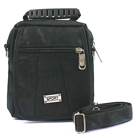 Malá pánska taška - farba čierna so strieborným štítkom