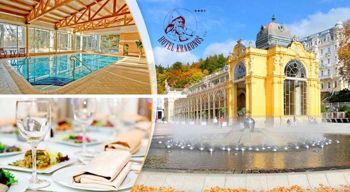 Fotka zľavy: Užite si nádherné dni v kúpeľných Mariánskych Lázňach v Hoteli Krakonoš ***+. Čakajú vás chvíle nabité wellness relaxom v krásnom prírodnom prostredí nad mestom.