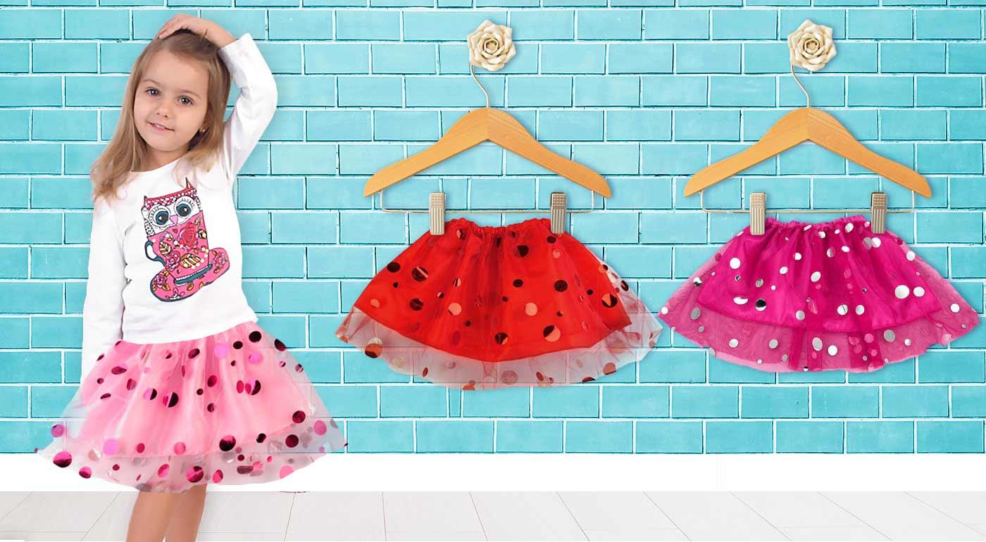 Farebné dievčenské sukničky s bodkami