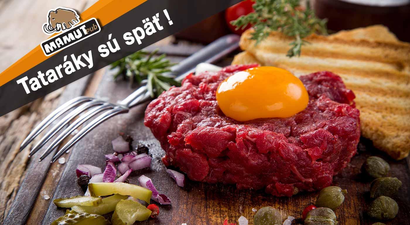 Fotka zľavy: Máte chuť na poriadnu porciu mäsa? Vychutnajte si hriešne dobrý tatarák s hriankami pre 2 alebo 4 osoby v známom Mamut Pube v centre Bratislavy!