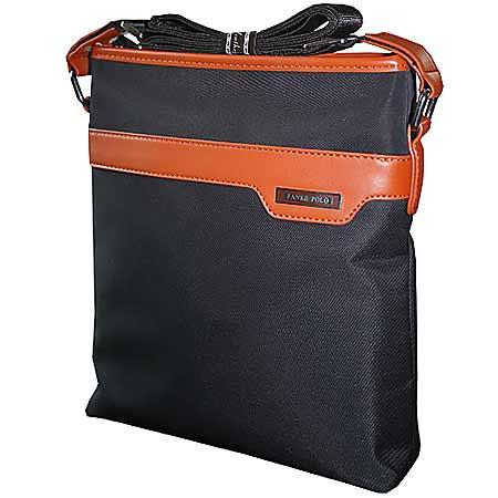 Pánska taška z mikrovlákna Polo Fanke - farba čierna s hnedými doplnkami