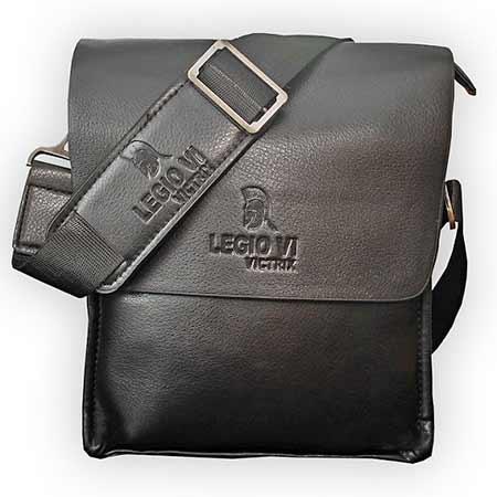 9932a7834f935 Pánska kožená taška Legio VI Victrix - farba čierna