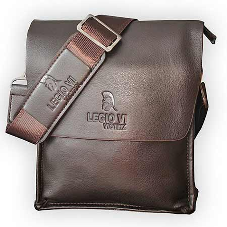 Pánska kožená taška Legio VI Victrix - farba tmavohnedá