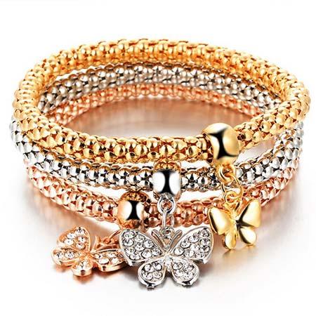 Trojdielna sada náramkov (zlatý, strieborný, bronzový) - motýľ