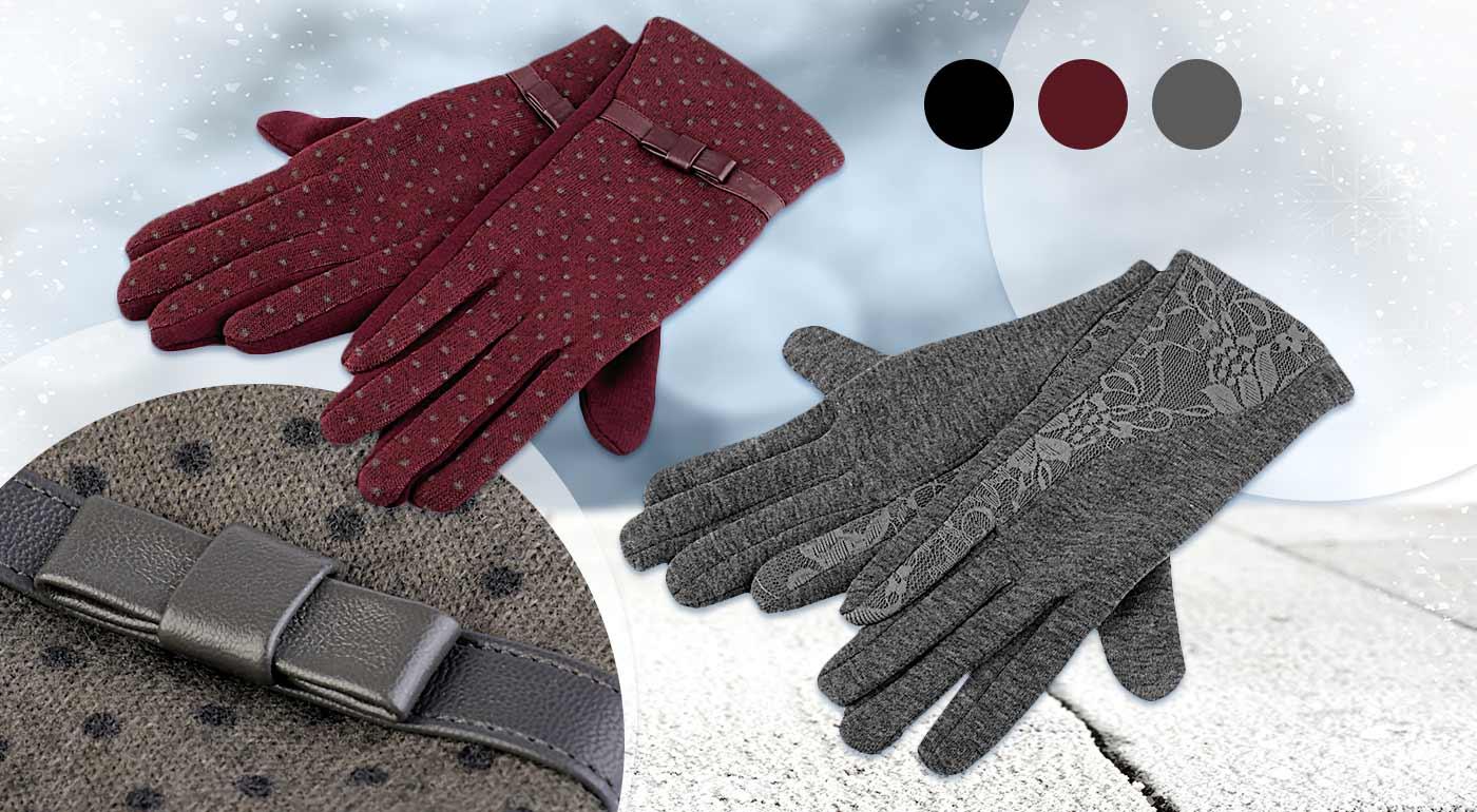 Dámske rukavice s bodkami alebo čipkou