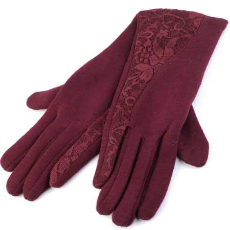 Dámske rukavice s krajkou - farba granátová - veľkosť M