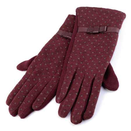 Dámske rukavice s bodkami - farba bordová - veľkosť M