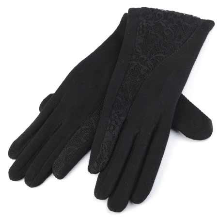 Dámske rukavice s krajkou - farba čierna - veľkosť L