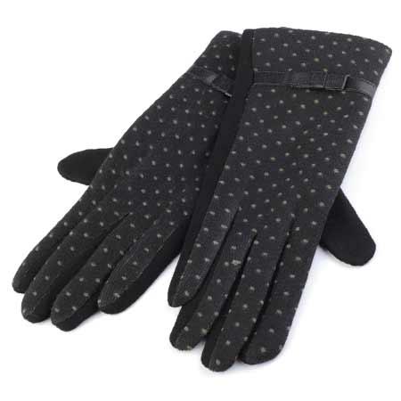 Dámske rukavice s bodkami - farba čierna - veľkosť M