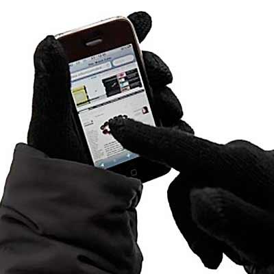 Čierne rukavice na mobil (unisex) - jedna veľkosť
