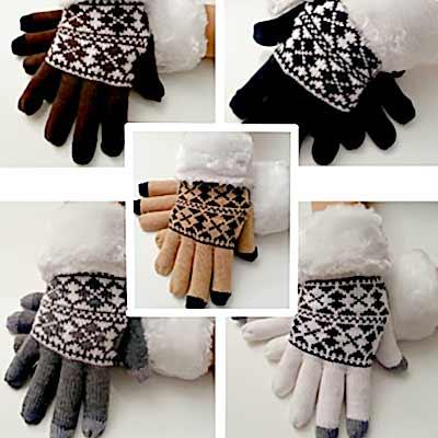 Dámske rukavice na mobil (s kožušinkou)  - jedna veľkosť