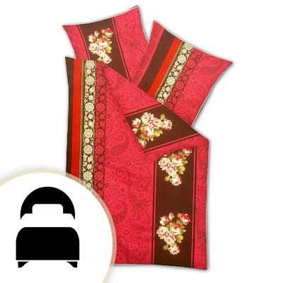 Obliečky pre jednolôžko - model A červené ornamenty